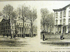 Trenton New Jersey GOV. McCELLAN Home & State House 1878 Antique Print Matted