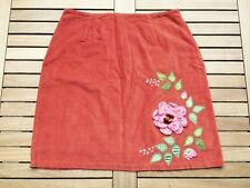 Persaman New York, Red Skirt Embroidered Flowers Leaves & Floral Embellishment
