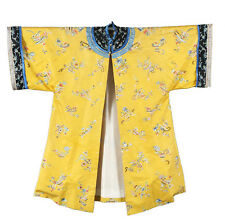 19th ANTIQUE CHINESE EMBROIDERY INFORMAL YELLOW SILK GAUZE ROBE QING DYNASTY