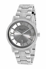 New Kenneth Cole KC9315 Grey Transparent Stainless Steel Bracelet Watch 46mm