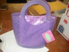 VINYL GIRLS LINED FLORAL DESIGN TOTE BAG PURPLE HALLMARK NEW WITH TAGS