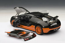 Autoart BUGATTI VEYRON SUPER SPORT WORLD RECORD BLACK/ORANGE 1:18 LE 1000*Rare!