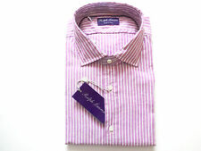 New Ralph Lauren Purple Label Italy Berry Striped 100% Cotton Dress Shirt sz 15