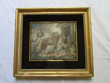 ANTIQUE 19th c GILT FRAME ENGRAVING VERRE EGLOMISE MOUNT MORLAND RURAL COUNTRY