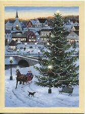 1 CHRISTMAS VILLAGE GAZEBO SKATING HORSE SLEIGH RIDE COUNTRY STORE SNOW CARD