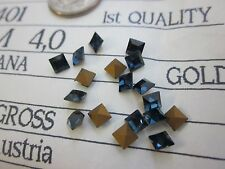 18 SWAROVSKI MONTANA 4mm SQUARES ART 4401 RHINESTONES LOT POINTED REPAIR BROOCH