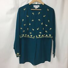 Vintage DIANE VON FURSTENBERG Green Gold Embroidery Silk Button Up Blouse Sz S