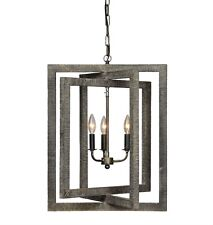 CLASSIC RESTORATION MODERN STYLE INDUSTRIAL WOOD PENDANT CHANDELIER