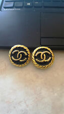 Authentic CHANEL CC Logos Earrings Gold-Tone Clip-On Made In France