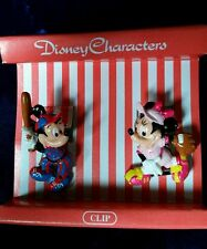 """BASEBALL Mickey Mouse and Minnie Mouse Clips Hair Paper Whatever 1.5""""  Sekiguchi"""