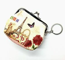 Coin Purse w/Key Ring -Paris Theme w/Eiffel Tower, Purse, Shoe, Stamps, Flowers
