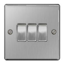 British General SBS43 Stainless Steel Light Switch 3 Gang, 2 Way