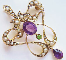 Antique Edwardian 9ct Gold Amethyst Peridot & Pearl Suffragette Pendant Necklace