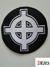PATCH ECUSSON CROIX CELTIQUE - CELTIC CROSS - FRANCE BLANC NOIR - 8 CM