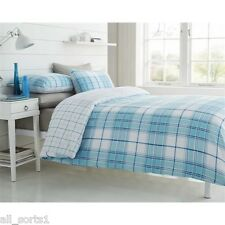DOUBLE BED DUVET SET WHITE TARTAN PRINT SQUARES CHECKED AQUA LINES BLUE