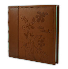 """Photo Album, Holds 200 4""""x6"""" pictures, 2 per page, Faux Leather, P52028-6 Brown"""