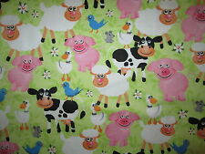 PIGS SHEEP COW FARM ANIMALS CHICKS COTTON FLANNEL FABRIC FQ