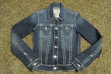TRUE RELIGION DISCO EMILY BIG T Denim Distress Jacket S NWOT$348 Swarovski Jewel
