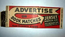 "RARE OLD Vintage ""ADVERTISE ON BOOK MATCHES""JERSEY MATCH COmatchbook.MADE IN USA"