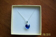 """SAPPHIRE BLUE CRYSTAL HEART PENDANT ON A 925 STERLING SILVER 18"""" CHAIN BRAND NEW"""