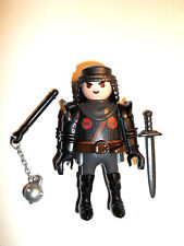 Playmobil,BLACK KNIGHT with ARM ARMOR,MACE,SWORD,CHAINMAIL .Lot # X457