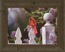 BIRD'S EYE VIEW by Jim Hansel 17x21 Cardinal Lilacs Fence FRAMED PRINT PICTURE