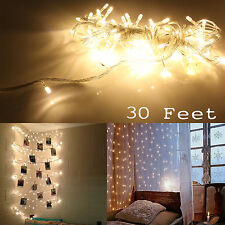 30 Feet Christmas Tree Party String Fairy Warm White Color LED Light Strip Lamps