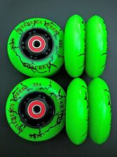 8 80mm KONCRETE INLINE SKATE WHEELS + ABEC-9 BEARINGS-outdoor rollerblade speed