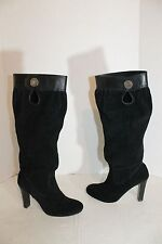 Michael Kors Black Suede Slouch Zip Up Knee High Heel Boots Women's Sz 7M