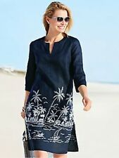NWT TALBOTS WOMENS LADYS EMBROIDERED NAVY LINEN BEACH DRESS, SIZE XS