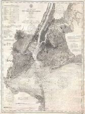 GEOGRAPHY MAP ILLUSTRATED ANTIQUE USA COAST NEW YORK HARBOR POSTER PRINT BB4500A