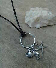 Black Leather & Silver Sea Horse, Starfish Shell Charm Circle Necklace Nautical