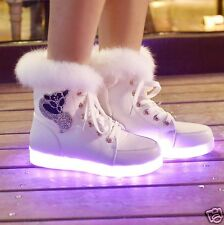 LED Light Up Winter Womens Fur Diamante Hi Top Trainers Sneakers Ankle Boots