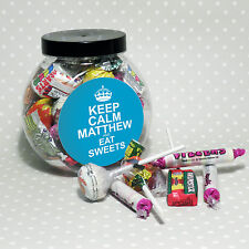 Personalised BLUE Jar Of Love Retro Sweets - Birthday, Christmas Gift For Him