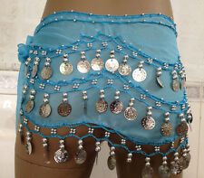 Belly Dance Hip Skirt Scarf Wrap Belt Hipscarf Gold/Silver Coins for KIDs Girls