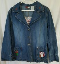 Faded Glory Embroidered Santa 1972 Special Edition Denim Jacket Size XL 18/20