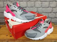 NIKE UK 5.5 EU 38.5 GREY PINK HUARACHE RUN TRAINERS LADIES GIRLS CHILDRENS