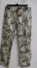 WOMEN 5 POCKET TRENDY FULL LENGTH CAMO PANTS WITH HINT OF FADED PINK