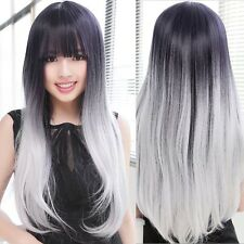 Harajuku Silver Gray Mix Black Wig Cosplay Lady Fashion Curly Wavy Hair Long Wig