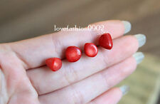 A Pair Handmade Natural cute red Coral earrings silver stud
