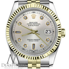 Rolex 36mm Datejust2Tone Silver Color Dial with 8+2 Diamond Accent