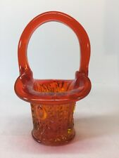 Fenton Art Glass Orange Mini Basket Hand Singed By George & Nancy Fenton