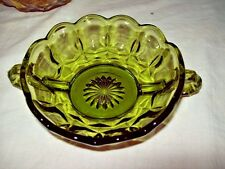 Vintage Green THUMBPRINT Bowl ~ 2 Handle Candy Dish ~ Nut Bowl ~ Nappy ~ PERFECT