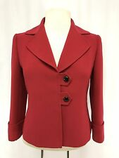 womens red TAHARI blazer jacket cropped 3/4 sleeve career XS 2P