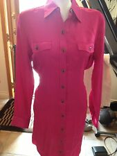 Lauren Ralph Lauren Womens New Hibiscus Pink Satin Collared Shirt dress 10