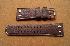BROWN LAMBRETTA STITCHED LEATHER WATCH STRAP 30MM