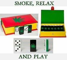 Cannabis Dominoes Game Set, Double Six, Domino, Leather, Mariguana, Weed, New