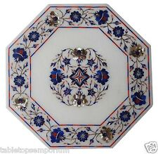 """Size 12""""x12"""" Marble Coffee Table Top Inlay Lapsi Lazuli Mosaic Home Decor Gifts"""