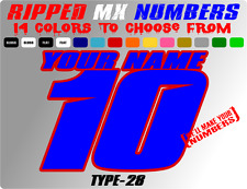 CUSTOM 2 COLOR NAME MOTOCROSS NUMBER PLATE DECALS CAR STICKERS ATV GRAPHICS BMX