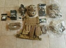 Tactical Airsoft Gear Set (Tan) Helmet, Goggles, Vest, Gloves, and More